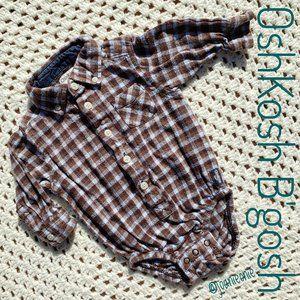 OSHKOSH B'GOSH Brown Plaid Flannel LS Size 6 Mo